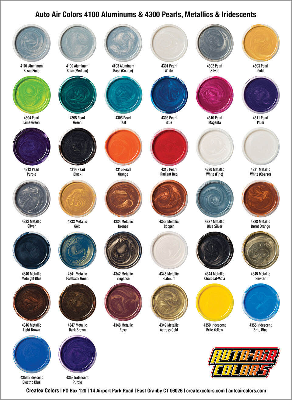 Metallic car paint color chart 14