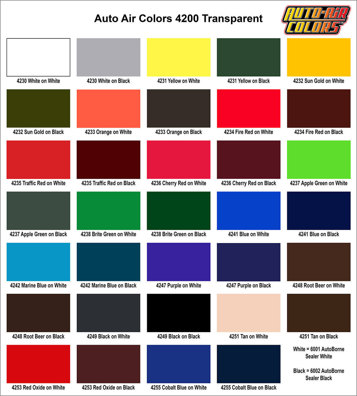 Auto air color charts airbrush paint direct auto air color charts nvjuhfo Images